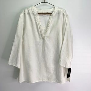 Dana Buchman White Linen Tunic NWT Plus Size 2X